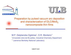 Primary view of object titled 'Preparation by pulsed vacuum arc deposition and characterizationof DLC/MoS2 nanocomposite thin films'.