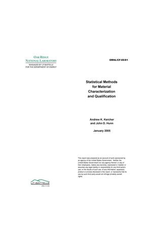 Primary view of object titled 'Statistical Methods for Material Characterization and Qualification'.