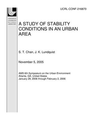 Primary view of object titled 'A STUDY OF STABILITY CONDITIONS IN AN URBAN AREA'.