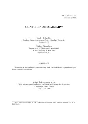 Primary view of object titled 'Conference Summary'.