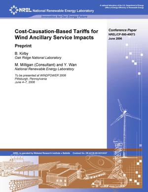 Primary view of object titled 'Cost-Causation-Based Tariffs for Wind Ancillary Service Impacts: Preprint'.