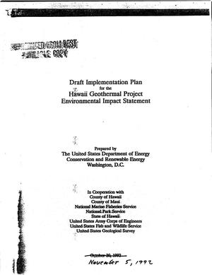 Primary view of object titled 'Draft Implementation Plan for the Hawaii Geothermal Project Environmental Impact Statement'.