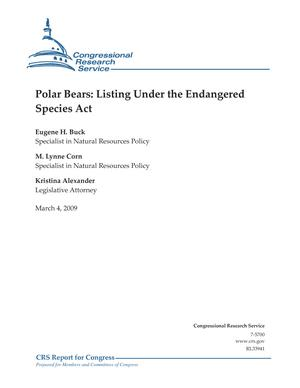 Polar Bears: Listing Under the Endangered Species Act