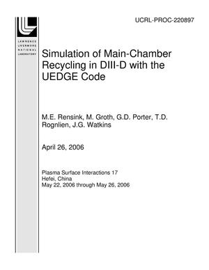 Primary view of object titled 'Simulation of Main-Chamber Recycling in DIII-D with the UEDGE Code'.