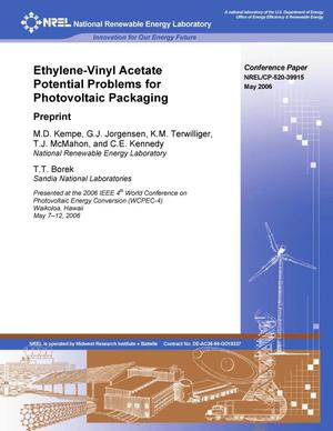 Primary view of object titled 'Ethylene-Vinyl Acetate Potential Problems for Photovoltaic Packaging: Preprint'.