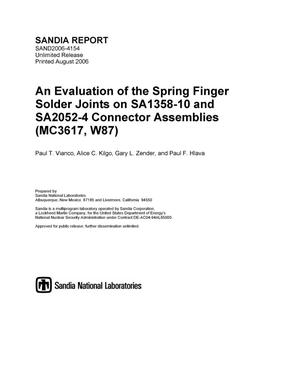 Primary view of object titled 'An evaluation of the spring finger solder joints on SA1358-10 and SA2052-4 connector assemblies (MC3617,W87).'.