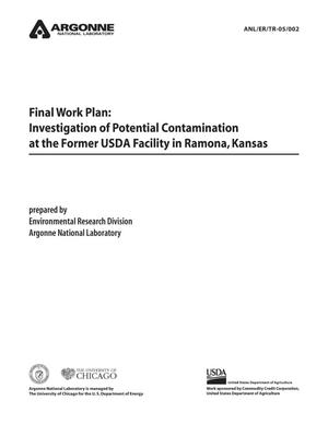 Primary view of object titled 'Final work plan : investigation of potential contamination at the former USDA facility in Ramona, Kansas.'.