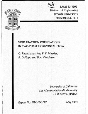 Primary view of object titled 'Void fraction correlations in two-phase horizontal flow'.