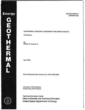 Primary view of object titled 'Geothermal resource assessment for North Dakota. Final Report'.