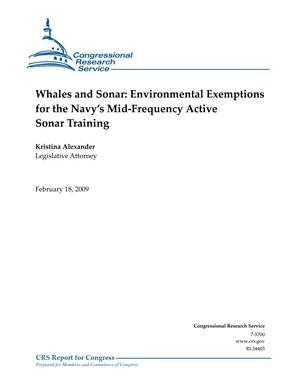Whales and Sonar: Environmental Exemptions for the Navy's Mid-Frequency Active Sonar Training