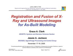 Primary view of object titled 'Registration and Fusion of X-Ray and Ultrasound Images for As-Built Modeling'.