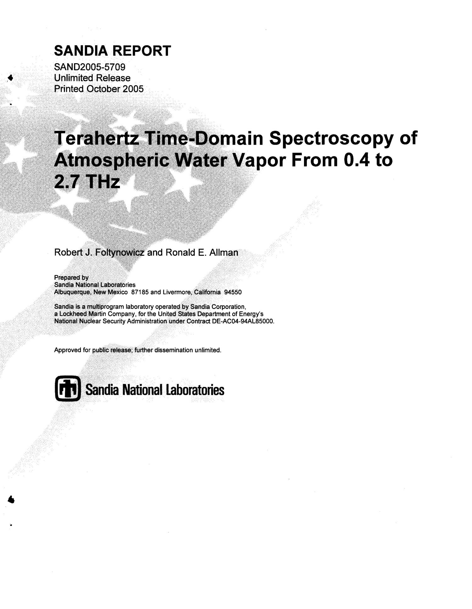 Terahertz time-domain spectroscopy of atmospheric water vapor from 0.4 to 2.7 THz.                                                                                                      [Sequence #]: 1 of 16