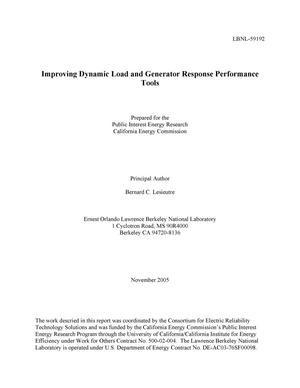 Primary view of object titled 'Improving Dynamic Load and Generator Response PerformanceTools'.