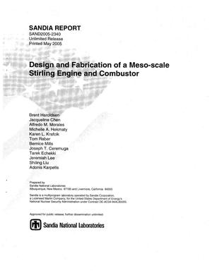 Primary view of object titled 'Design and fabrication of a meso-scale stirling engine and combustor.'.
