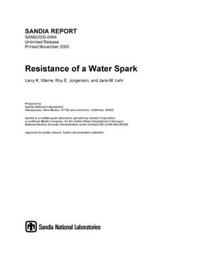 Primary view of object titled 'Resistance of a water spark.'.