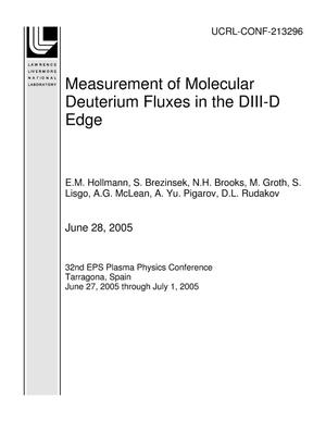Primary view of object titled 'Measurement of Molecular Deuterium Fluxes in the DIII-D Edge'.