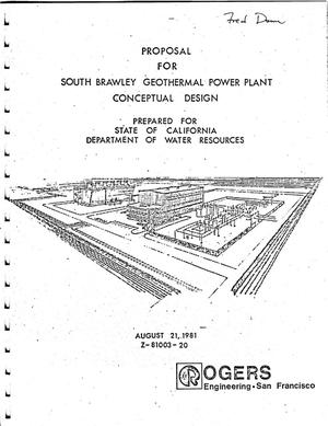 Primary view of object titled 'Proposal for South Brawley Geothermal Power Plant Conceptual Design'.