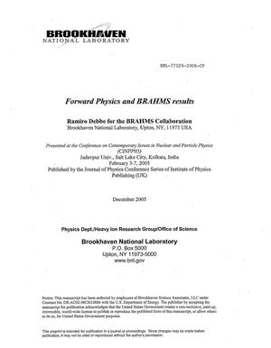 Primary view of object titled 'FORWARD PHYSICS AND BRAHMS RESULTS.'.