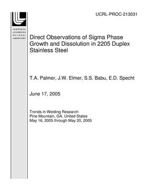 Primary view of object titled 'Direct Observations of Sigma Phase Growth and Dissolution in 2205 Duplex Stainless Steel'.