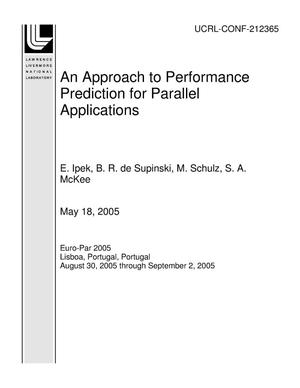 Primary view of object titled 'An Approach to Performance Prediction for Parallel Applications'.