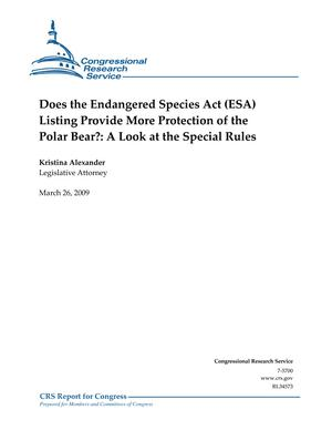 Does the Endangered Species Act (ESA) Listing Provide More Protection of Polar Bear?: A Look at the Special Rules