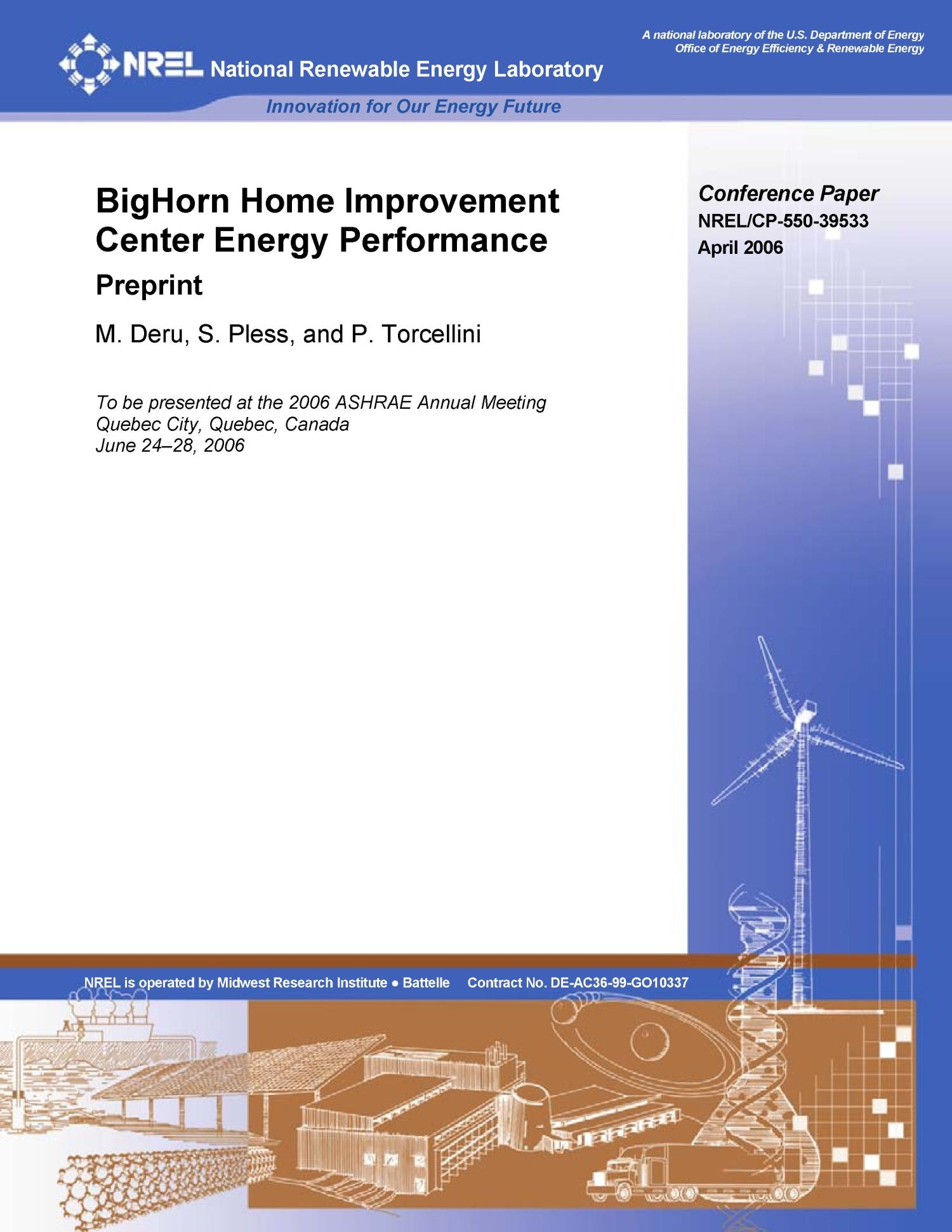 Bighorn Home Improvement Center Energy Performance Preprint Unt Digital Library