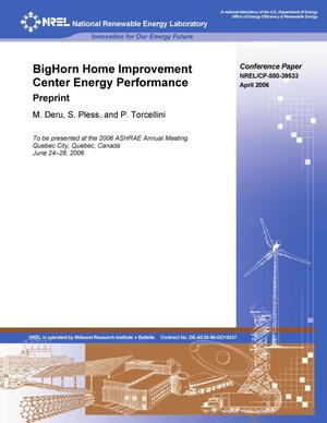 Primary view of object titled 'BigHorn Home Improvement Center Energy Performance: Preprint'.