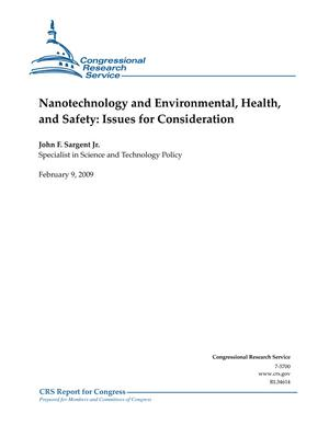 Nanotechnology and Environmental, Health, and Safety: Issues for Consideration