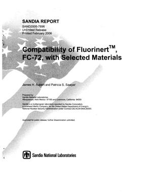 Primary view of object titled 'Compatibility of Fluorinert, FC-72, with selected materials.'.