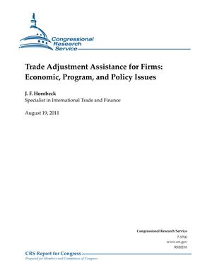 Trade Adjustment Assistance for Firms: Economic, Program, and Policy Issues