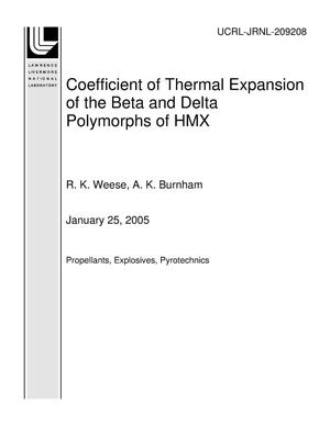 Primary view of object titled 'Coefficient of Thermal Expansion of the Beta and Delta Polymorphs of HMX'.