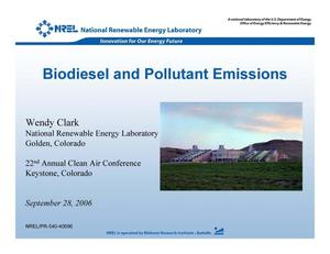 Primary view of object titled 'Biodiesel and Pollutant Emissions (Presentation)'.
