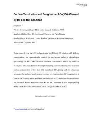 Primary view of object titled 'Surface Termination and Roughness of Ge(100) Cleaned by HF and HCl Solutions'.