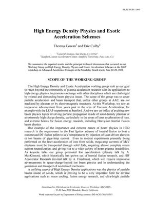 Primary view of object titled 'High Energy Density Physics and Exotic Acceleration Schemes'.