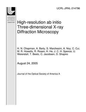 Primary view of object titled 'High-resolution ab initio Three-dimensional X-ray Diffraction Microscopy'.