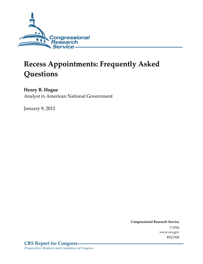 Recess Appointments: Frequently Asked Questions