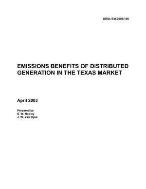 Primary view of object titled 'Emissions Benefits of Distributed Generation in the Texas Market'.