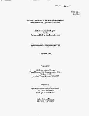 Primary view of object titled 'TITLE III EVALUATION REPORT FOR THE SURFACE AND SUBSURFACE POWER SYSTEM'.