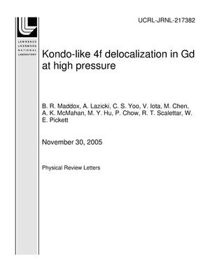 Primary view of object titled 'Kondo-like 4f delocalization in Gd at high pressure'.