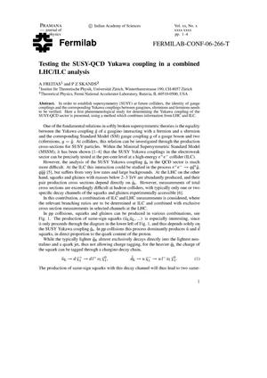 Primary view of object titled 'Testing the SUSY-QCD Yukawa coupling in a combined LHC/ILC analysis'.