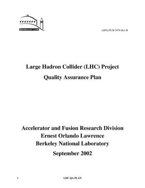Primary view of object titled 'Large hadron collider (LHC) project quality assurance plan'.