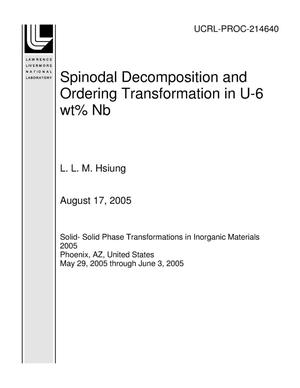 Primary view of object titled 'Spinodal Decomposition and Ordering Transformation in U-6 wt% Nb'.