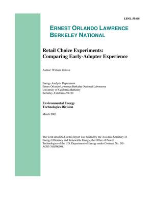 Primary view of object titled 'Retail Choice Experiments: Comparing Early-AdopterExperience'.