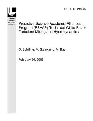 Primary view of object titled 'Predictive Science Academic Alliances Program (PSAAP) Technical White Paper Turbulent Mixing and Hydrodynamics'.