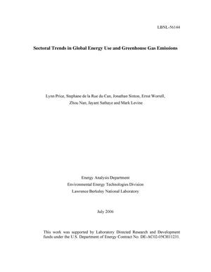Primary view of object titled 'Sectoral trends in global energy use and greenhouse gasemissions'.