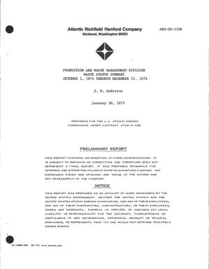Primary view of object titled 'Production and Waste Management Division waste status summary, October 1, 1974--December 31, 1974'.