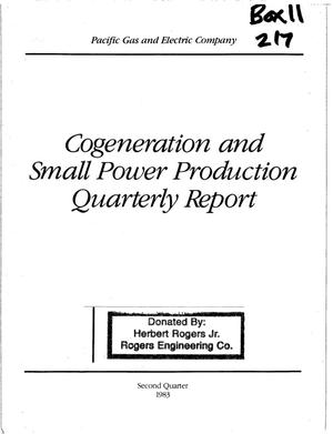 Primary view of object titled 'Cogeneration and Small Power Production Quarterly Report to the California Public Utilities Commission Second Quarter 1983'.