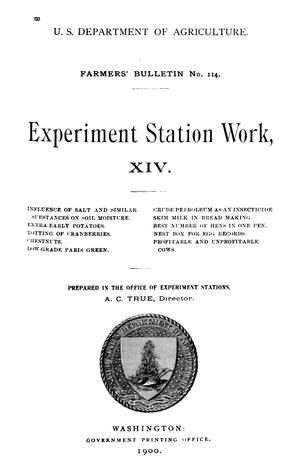 Primary view of object titled 'Experiment Station Work, [Volume] 14'.