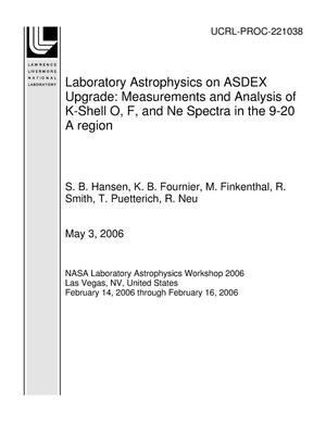 Primary view of object titled 'Laboratory Astrophysics on ASDEX Upgrade: Measurements and Analysis of K-Shell O, F, and Ne Spectra in the 9-20 A region'.
