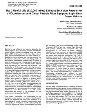 Primary view of object titled 'Tier 2 Useful Life (120,000 miles) Exhaust Emission Results for a NOx Adsorber and Diesel Particle Filter Equipped Light-Duty Diesel Vehicle'.